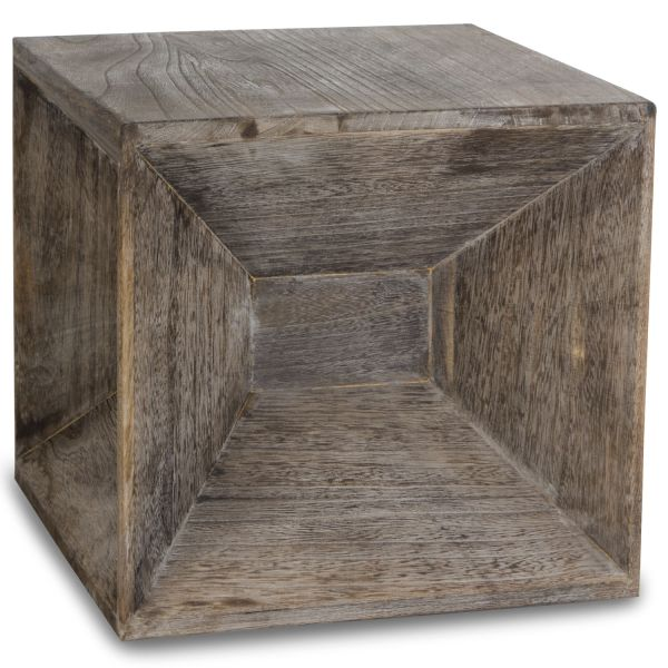 Side table wood cube bedside table grey