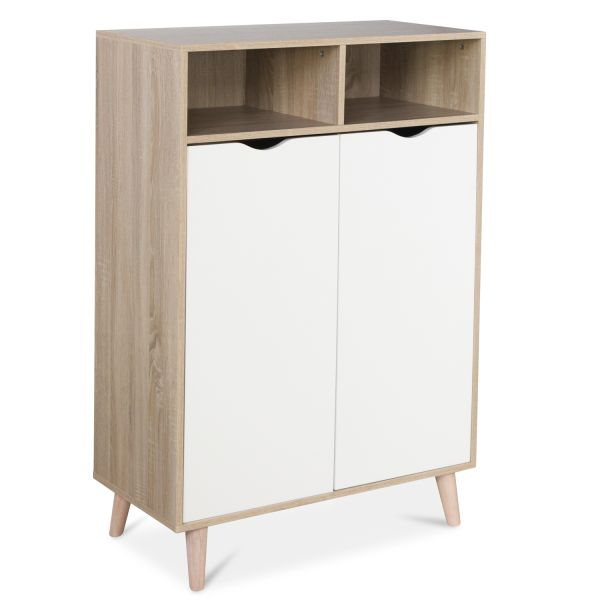 Sideboard chest of drawer Storage Shelf White Wood Natura