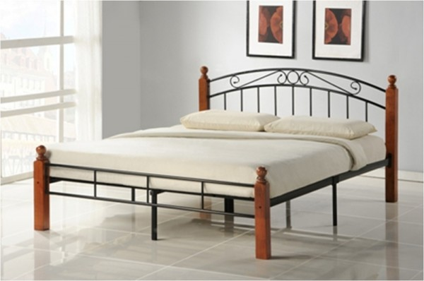 Design Iron Bed Double 180 x 200Wood Slatted black brown bed frame 916