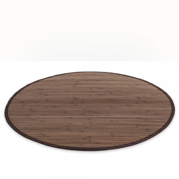Bamboo carpet Rug 90 cm round in dark brown