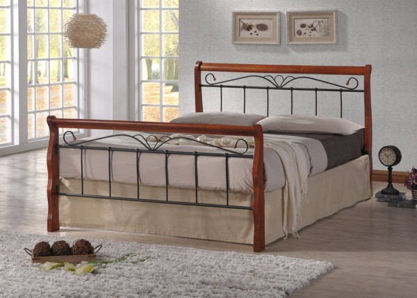 Design Iron Bed Double 180 x 200 Wood Slatted black brown bed frame
