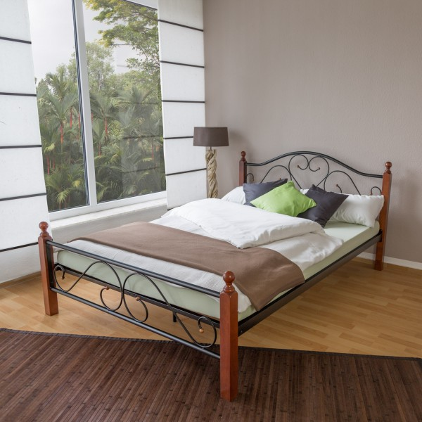 Metal Bed Iron Bed Double 160 x 200 Wood Slatted black brown bed frame 815