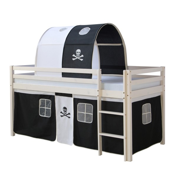Loftbed Childrenbed Ladder Tunnel Pine Curtain Black Pirate 90x200 Play