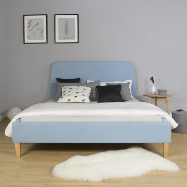 Upholstered fabric bed 140 x 200 blue