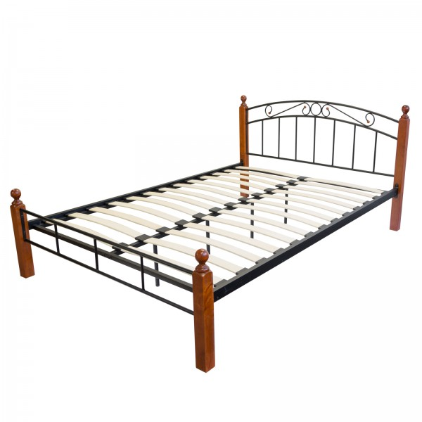 Design Iron Bed Double 140 x 200Wood Slatted black brown bed frame 916
