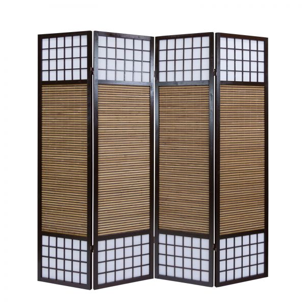 4 part wood paravent 8065 brown bamboo
