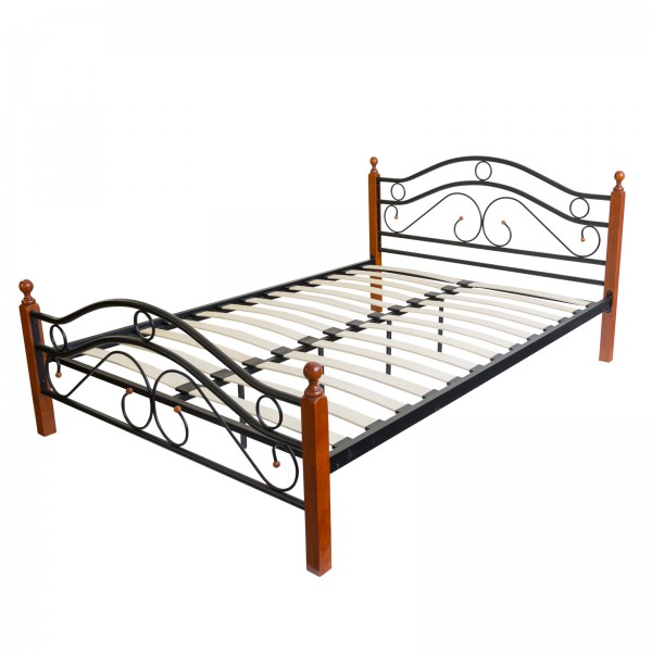 Metal Bed Iron Bed Double 160 x 200 Wood Slatted black brown bed frame 803