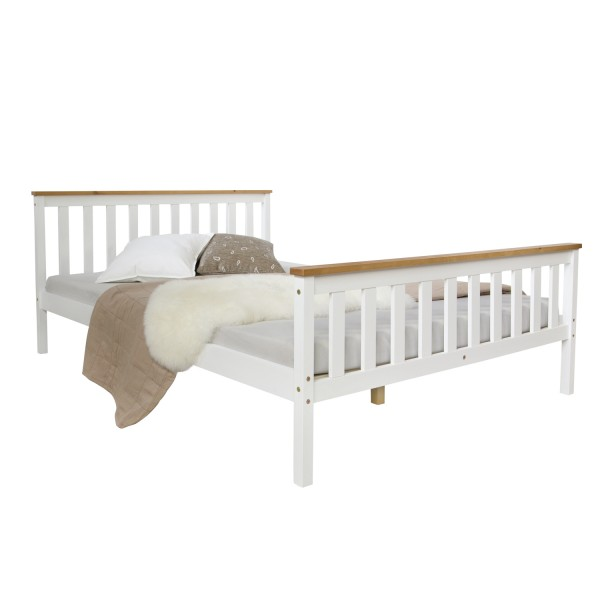 4FT small double bed Solid pine frame white brown