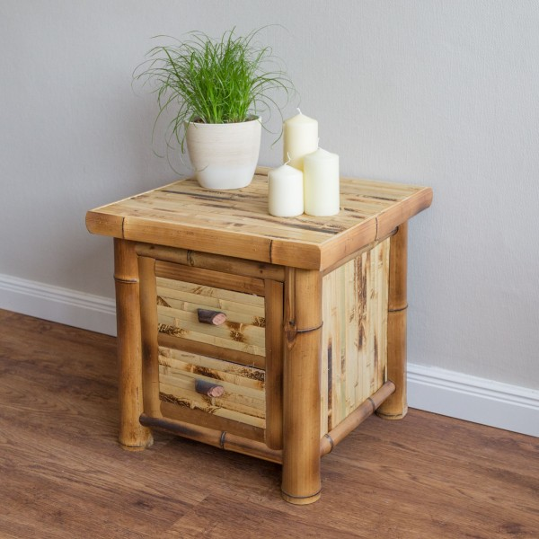 Bamboo nightstand bedside table in brown