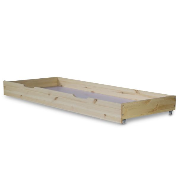 Wooden Bed Drawer Pull-Out Bed Box Storage with Castors Natural