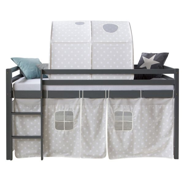 Childrenbed Tunnel Solid Pine Curtain grey stars 90x200