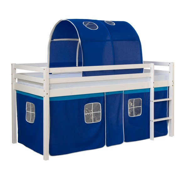 Loftbed Childrenbed Ladder Tunnel Solid Pine Curtain Blue 90x200