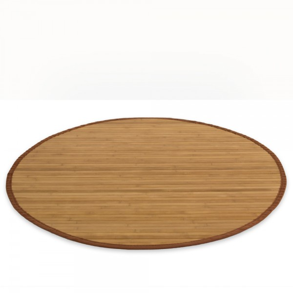 Bamboo carpet Rug 200 cm round in brown