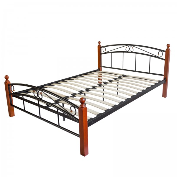 Metal Bed Iron Bed Double 180 x 200 Wood Slatted black brown bed frame