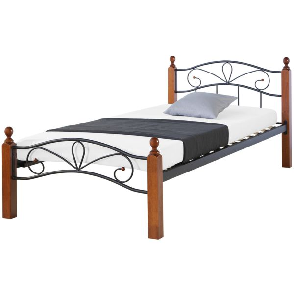 Metal Bed 90x200 Black Daybed Single Bed Youth Bed with Slatted Frame