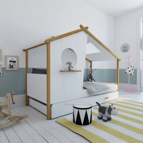 Children's Bed 90x200 House Bed Kids Bed Wooden Bed White Cot Drawer