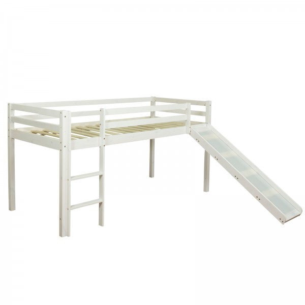 Cabin Bunk Bed High sleeper Bed Slide white Pine