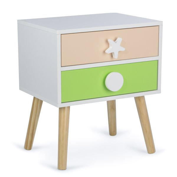 Bedside Table for Children Night Cabinet Night Chest 2 Drawers White Coloured