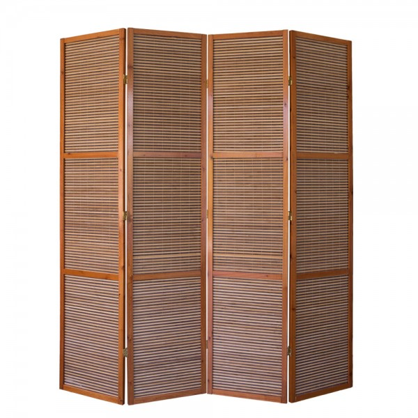 4 part wood paravent 8064 brown bamboo