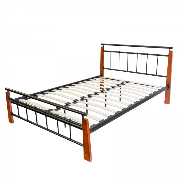 Metal Bed Iron Bed Double 140 x 200 Wood Slatted black brown bed frame 5072