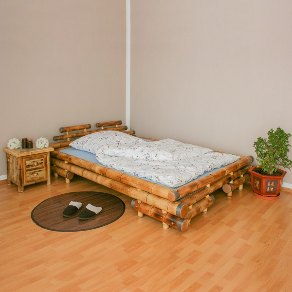 Bamboo Bed 140 x 200 in brown
