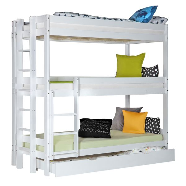 Children´s Bed Bunk Bed 90x200 Triple Bed High Sleeper Cot White Wood