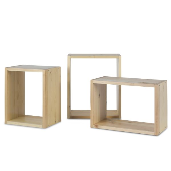 Regal Wandregal 3er Set Hängeregal Bücherregal Holzregal Holz Natur