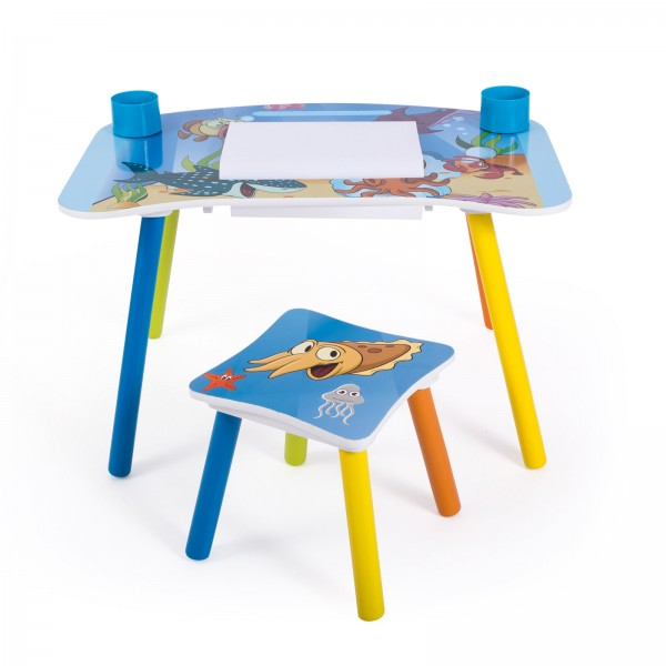 Childrens Desk Study Homework Writing Table with Stool Sea