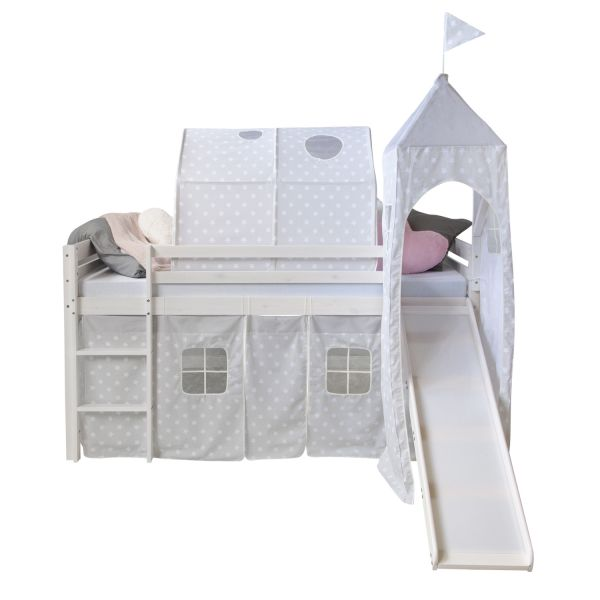 Childrenbed Slide Tunnel Tower Solid Pine Curtain white stars 90x200