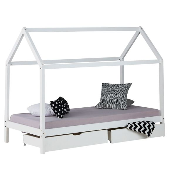 Childrens Bed House Bed Frame For Kids 90x200 cm White With Drawers