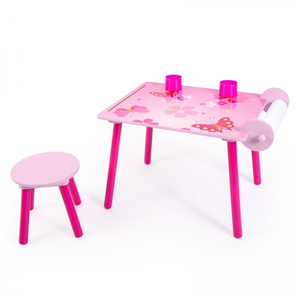 Childrens Desk Study Homework Writing Table with Stool Butterfly