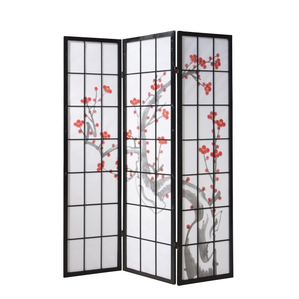 Wood Room Divider with cherry blossom