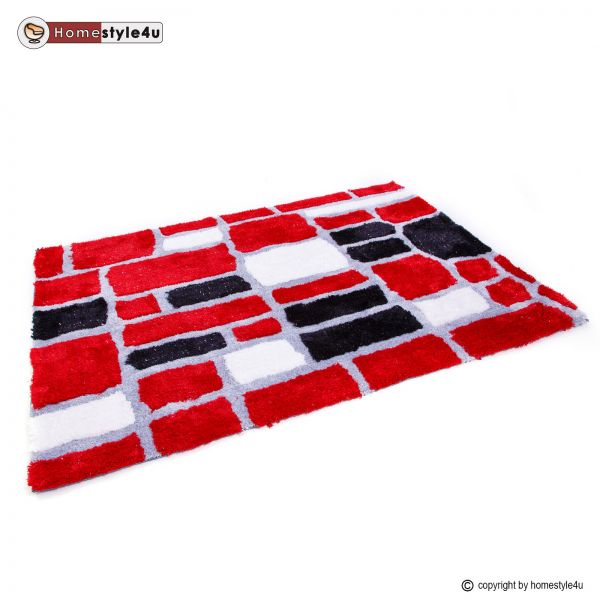 Shaggy rugs 80 x 150 red gray black desing carpet
