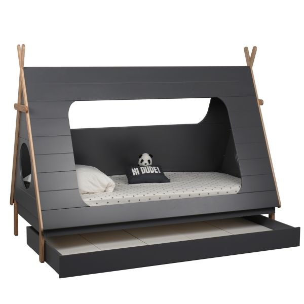 TIPI House Bed Play Bed Pine Grey Blue Bed Kids Drawer 90x200