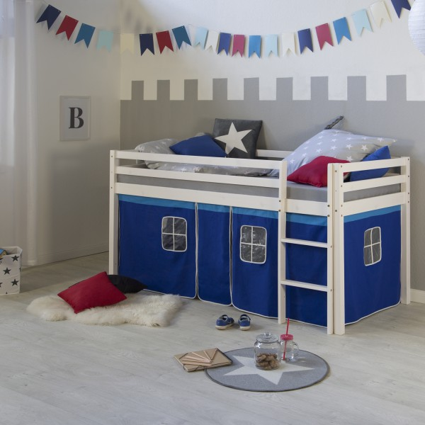 Children bunk bed loft cabin bed solid pine white blue curtain slats