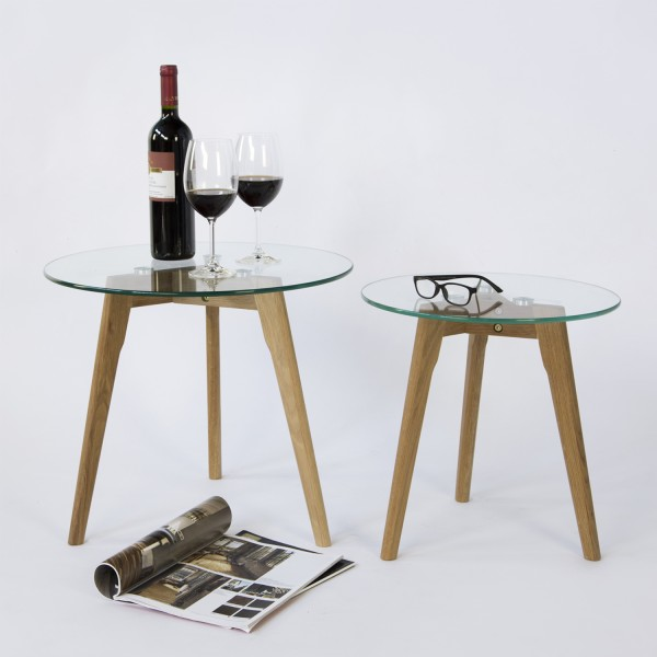 coffee table glass Round 2 pieces