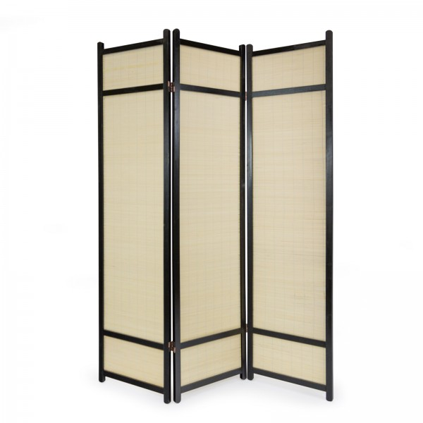 3 part wood paravent 8012 black bamboo