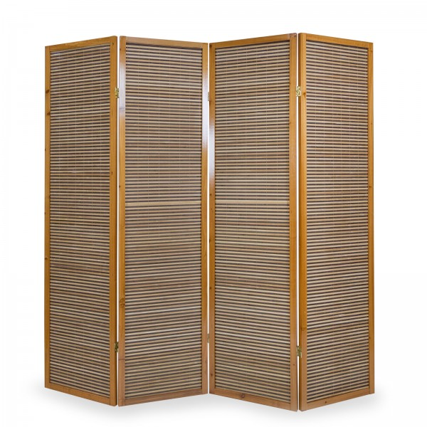 4 part wood paravent 8002 brown bamboo