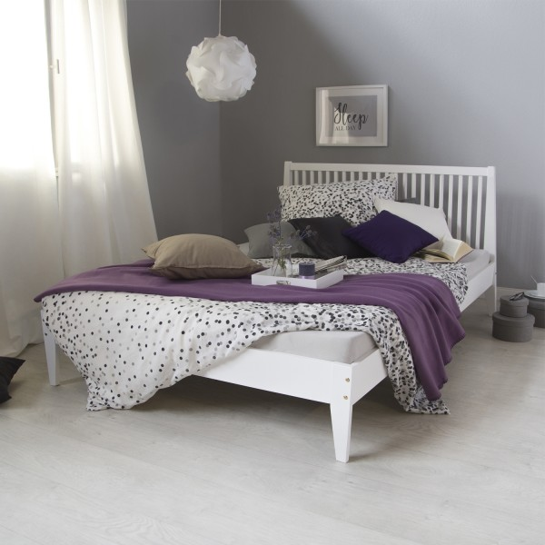 Double bed woodbed 140x200 white