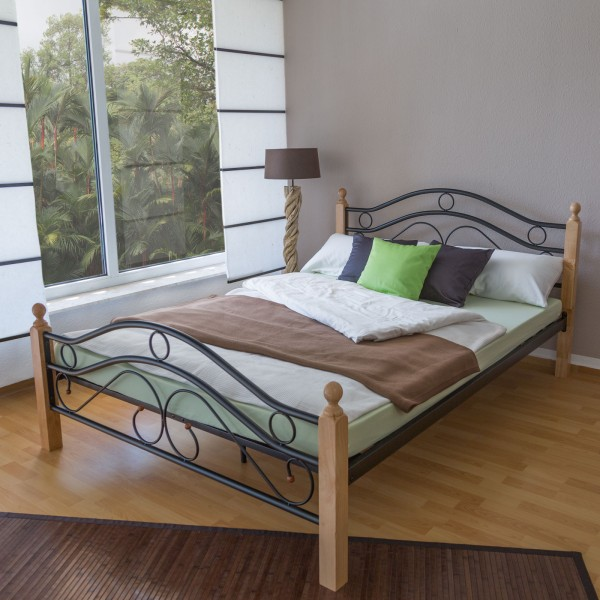 Metal Bed Iron Bed Double 180 x 200 Wood Slatted black natural bed frame 803