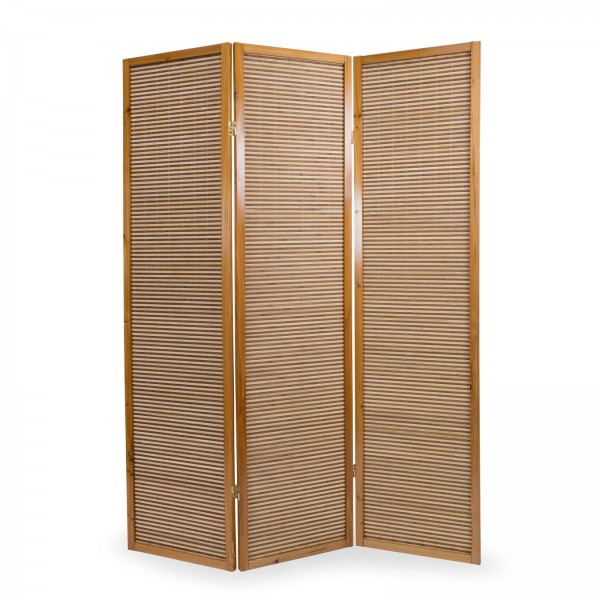 3 part wood paravent 8002 brown bamboo