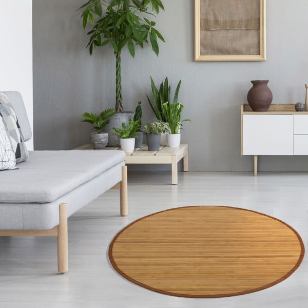 Bamboo carpet Rug 150 cm round in brown