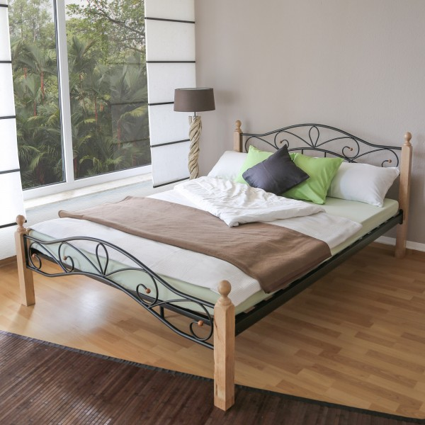 Metal Bed Iron Bed Double 160 x 200 Wood Slatted black natural bed frame 920