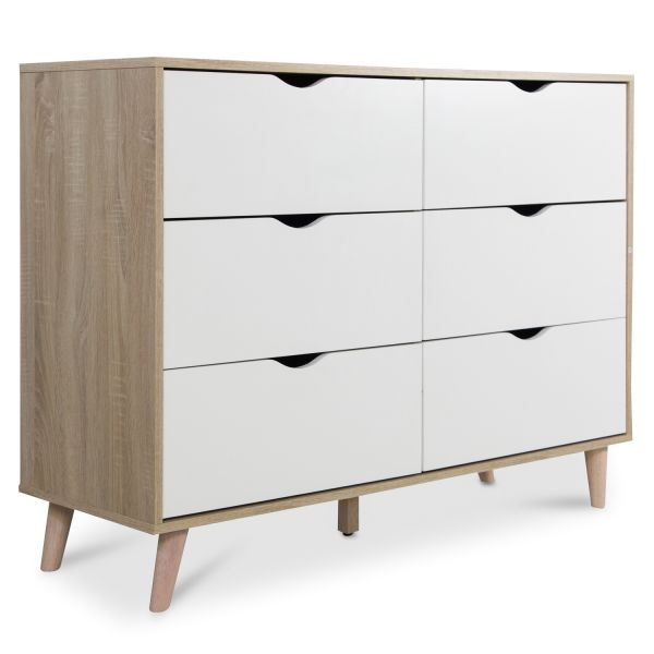 Sideboard Chest of Drawers Cabinet Storage Shelf White Brown Wood
