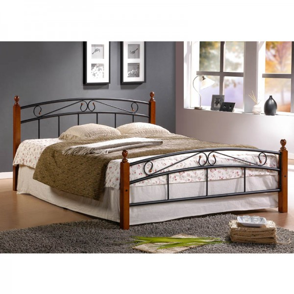 Metal Bed Iron Bed Double 140 x 200 Wood Slatted black brown bed frame 8077
