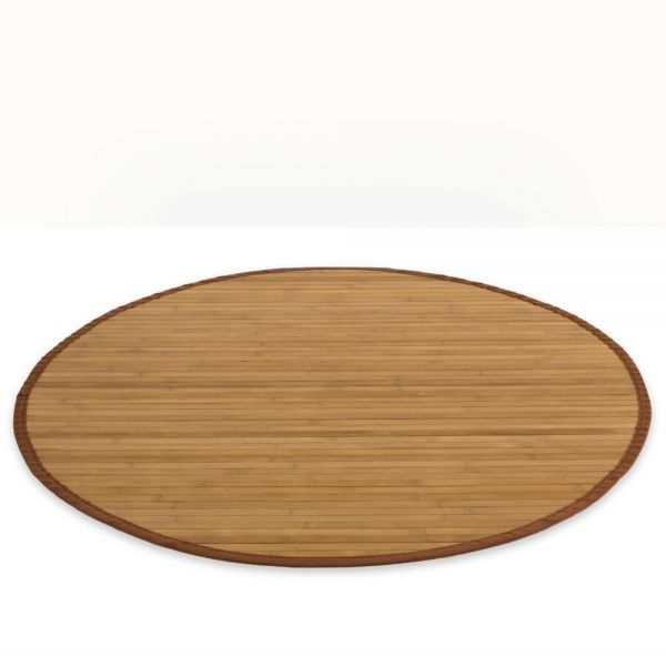 Bamboo carpet Rug 180 cm round in brown