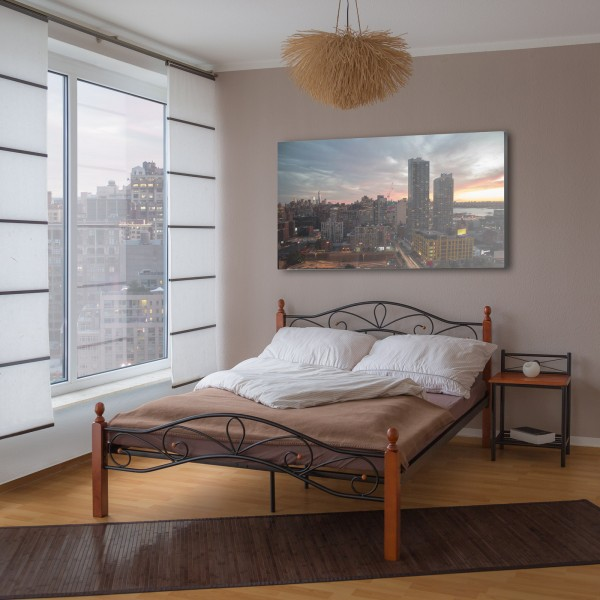 Metal Bed Iron Bed Double 180 x 200 Wood Slatted black brown bed frame 920