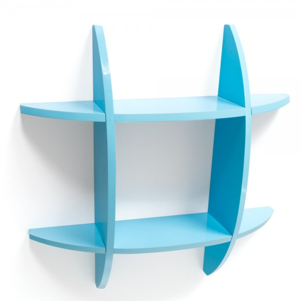 Wall shelf Cube Retro Bookcase shelves blue