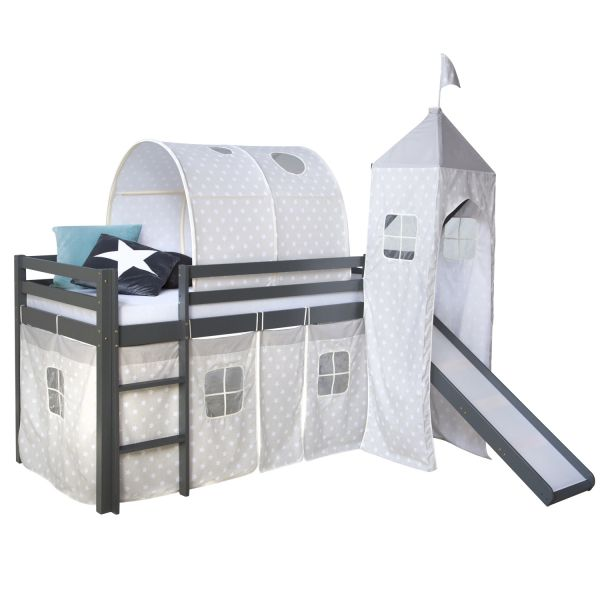 Childrenbed Slide Tunnel Tower Solid Pine Curtain grey stars 90x200
