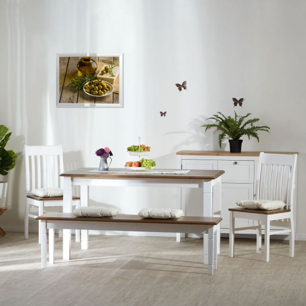 Dining Room Set with Bench Table and 2 Chairs White Brown Dining Table Wood